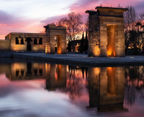 Templo de Debod - Photo coucher de soleil - DESTINATION MADRID
